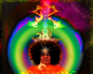 Sathya Sai Baba represented in a portrait - Sai master of the universe
