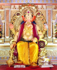 A typical Ganesh Idol installment during Ganesh Chaturthi