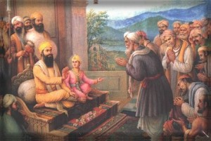 Kashmiri Hindu pundits meeting Guru Tegh Bahadurji to ask for help against forced conversions by the Islamic Mughal emperor