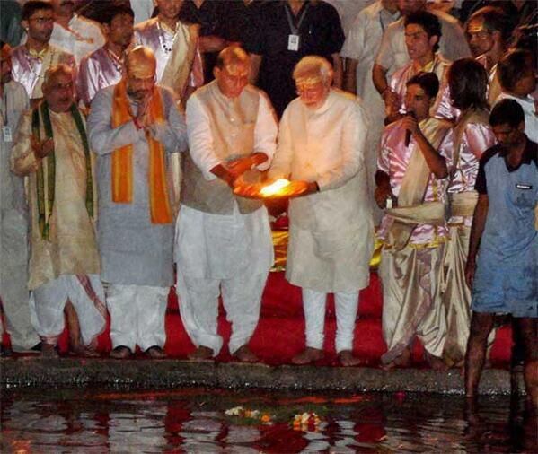 India PM Narendra Modi performing aarti and the Ganga River helping to put focus on a River that is in big need of environmental protection. The main ghats are based in PM Modi's constituency of Varanasi.