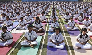 It is common in Hindu majority India for all types of kids to perform Yoga in School