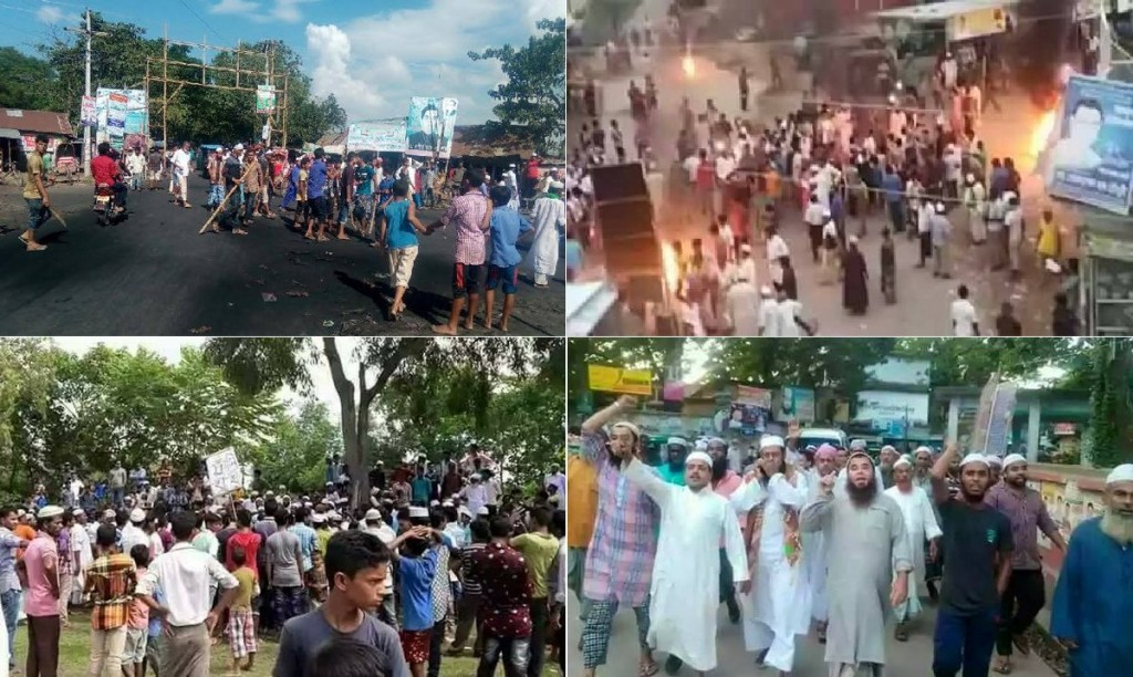 Mobs of thousands of angry Muslims destroyed Hindu temples and homes starting on Oct 31 2016 after rumours of a Hindu teen clicking LIKE on a Islamophobic post