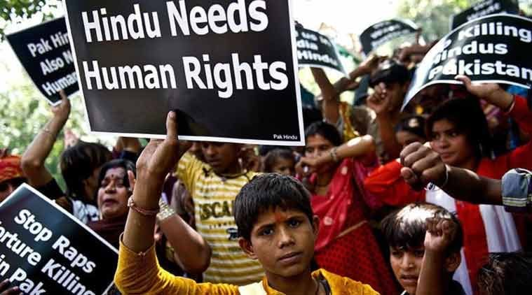 Hindu minority kids and women protest in Pakistan where they have faced a slow genocide for years and are constant targets of rape and forced conversions