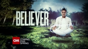 Poster of CNN's series Believer with host Reza Aslan sitting in a Yoga pose used by many Hindus
