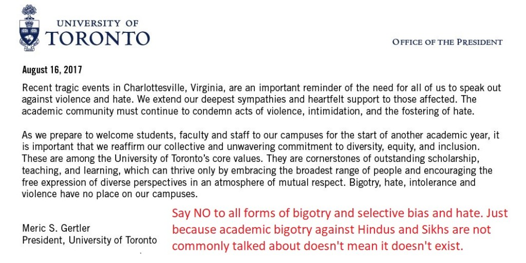 UofT (University of Toronto) President Meric Gertler statement after bigotry and hate events in Charlottesville