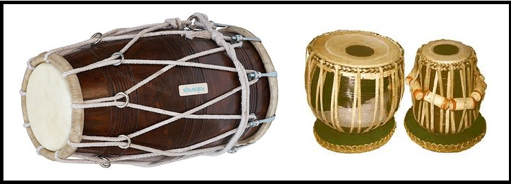 Indian classical instruments dholak and tabla
